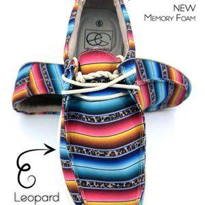 Aztec Pattern Serape & Leopard Loafer Boat Shoe
